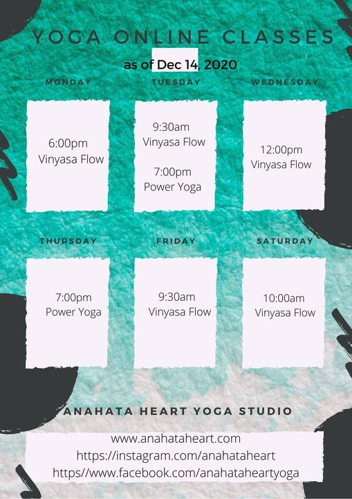 AnahataHeartYogaStudio schedule Anahata Heart Yoga Studio and Nutritional Centre
