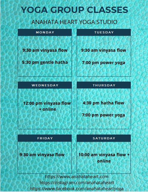 Schedule as of Feb 2221 Anahata Heart Yoga Studio and Nutritional Centre